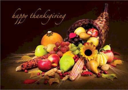Autumn Cornucopia Thanksgiving Card
