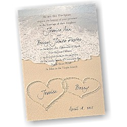 Hearts in the Sand Wedding Invitation