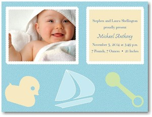Playful Presentation in Blue Baby Shower Invitation